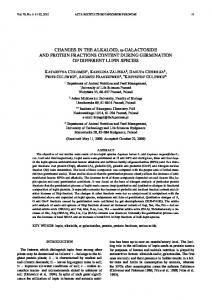 changes in the alkaloid, =-galactoside and protein fractions content ...