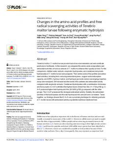 Changes in the amino acid profiles and free radical ... - PLOS