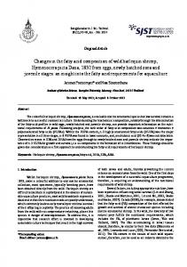 Changes in the fatty acid composition of wild harlequin shrimp ...