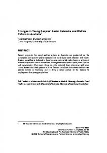 Changes in Young Peoples' Social Networks and Welfare Reform in ...