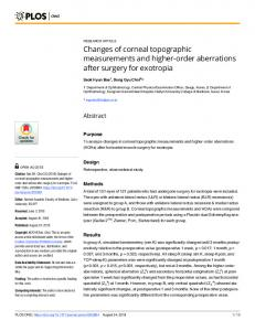 Changes of corneal topographic measurements and higher ... - Plos