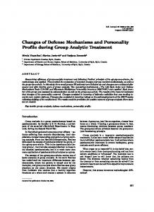 Changes of Defense Mechanisms and Personality Profile during