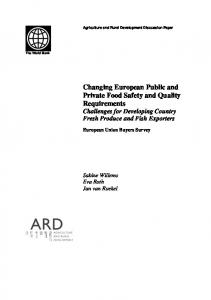 Changing European Public and Private Food ... - World Bank Group