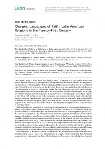 Changing Landscapes of Faith - Latin American Research Review