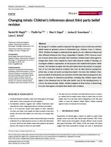 Changing minds - Wiley Online Library