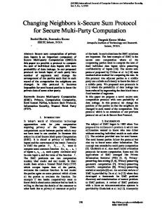 Changing Neighbors k-Secure Sum Protocol for Secure Multi ... - arXiv