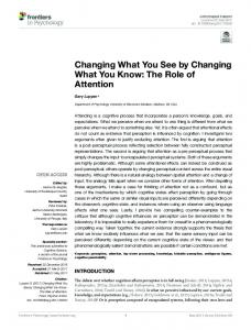 Changing What You See by Changing What You ... - Semantic Scholar