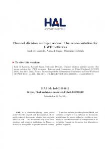 Channel division multiple access: The access solution for UWB ... - Hal