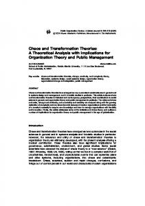 Chaos and Transformation Theories: A Theoretical ... - CiteSeerX