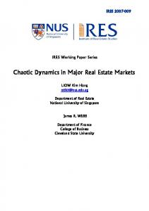 Chaotic Dynamics in Major Real Estate Markets - Institute of Real ...