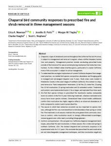 Chaparral bird community responses to prescribed fire ... - BES journal