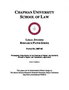 chapman university school of law - SSRN papers