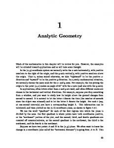 Chapter 1: Analytic Geometry