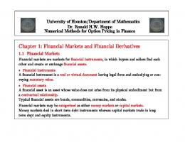 Chapter 1: Financial Markets and Financial Derivatives