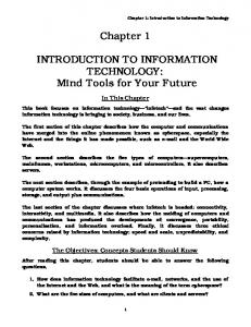 Chapter 1 INTRODUCTION TO INFORMATION TECHNOLOGY ...