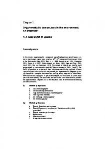Chapter 1 Organometallic compounds in the environment ... - Springer