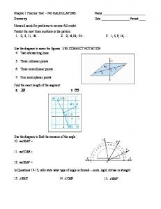 Chapter 1 Practice Test – NO CALCULATORS Geometry Show all ...