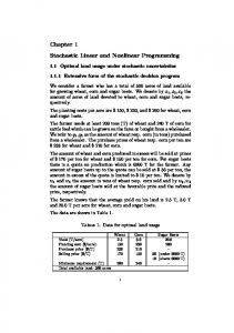 Chapter 1 Stochastic Linear and Nonlinear Programming