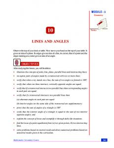 Chapter 10. Lines and Angles