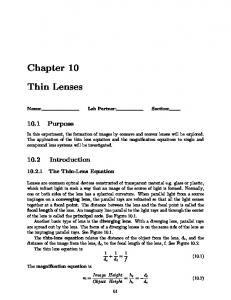 Chapter 10 Thin Lenses - Physics