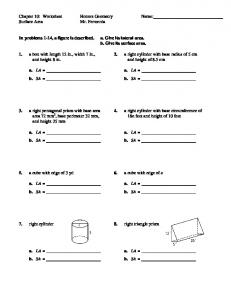 Chapter 10: Worksheet Honors Geometry Name: Surface Area Mr ...