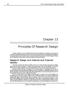Chapter 13 Principles Of Research Design