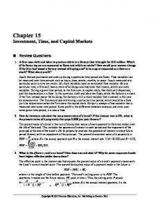 Chapter 15 Investment, Time, and Capital Markets