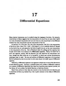 Chapter 17: Differential Equations