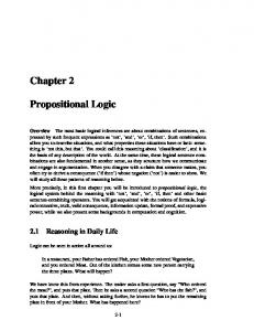 Chapter 2 Propositional Logic - Logic in Action
