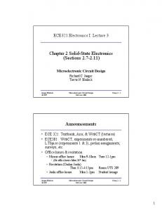 Chapter 2 Solid-State Electronics (Sections 2.7-2.11) Announcements
