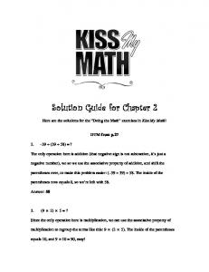 Chapter 2 Solutions - Kiss My Math