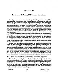 Chapter 20 Nonlinear Ordinary Differential Equations