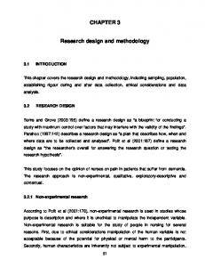CHAPTER 3 Research design and methodology