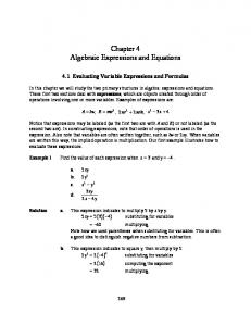 Chapter 4 Algebraic Expressions and Equations