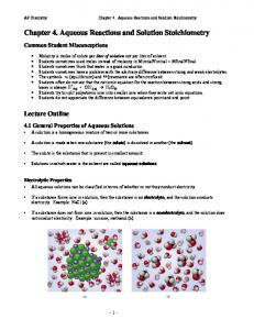 Chapter 4. Aqueous Reactions and Solution Stoichiometry
