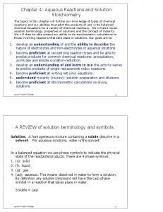 Chapter 4: Aqueous Reactions and Solution Stoichiometry A ...