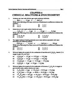CHAPTER 4 CHEMICAL REACTIONS & STOICHIOMETRY - Oneonta
