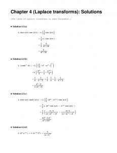 Chapter 4 (Laplace transforms): Solutions