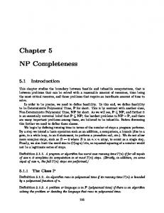 Chapter 5 NP Completeness - NYU Computer Science