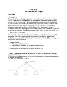 Chapter 6: Coordination and Ellipsis