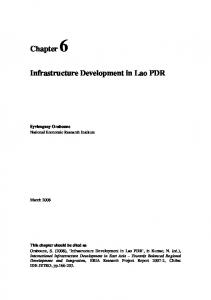 Chapter 6 Infrastructure Development in Lao PDR - Economic ...