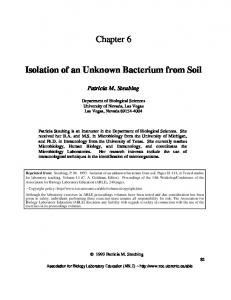 Chapter 6 Isolation of an Unknown Bacterium from Soil