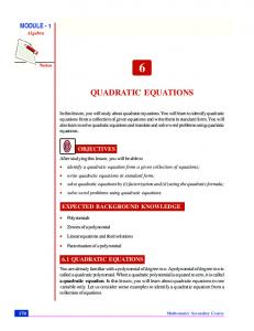 Chapter 6. Quadratic Equations