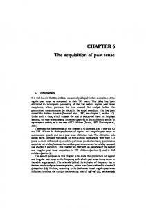 CHAPtER 6 the acquisition of past tense