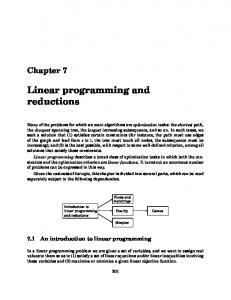 Chapter 7. Linear programming and reductions - Computer Science