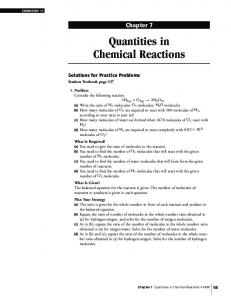 Chapter 7 Quantities in Chemical Reactions
