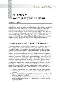 CHAPTER 7: Water quality for irrigation