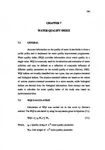chapter 7 water quality index - Shodhganga