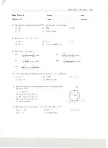 CHAPTER P Test Bank 21 Test Form A Name Date