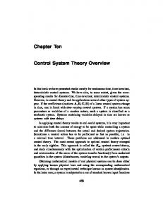 Chapter Ten Control System Theory Overview